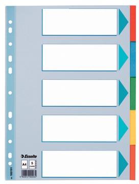 Esselte intercalaires, pour ft A4, en carton, 5 onglets, couleurs assorties