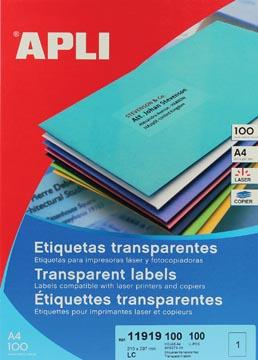 Apli Etiquettes transparentes ft 210 x 297 mm (l x h), 100 pièces, 1 par feuille, boîte de 100 feuilles