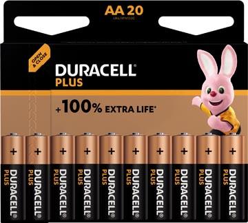 Duracell piles Plus 100%, AA, blister 20 pièces