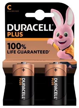 Duracell batterij Plus 100% C, blister de 2 pièces