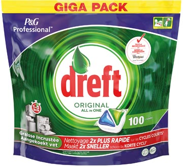Dreft tablettes pour lave-vaisselle All in One Original, sachet de 100 tablettes
