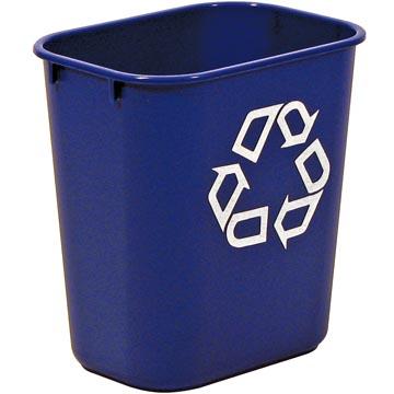 Rubbermaid bac de recyclage, sans bacs de séparation, 26,6 litre, bleu