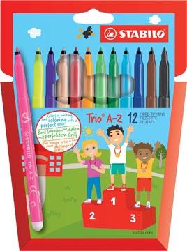 STABILO Trio A-Z feutre, étui de 12 pièces en couleurs assorties