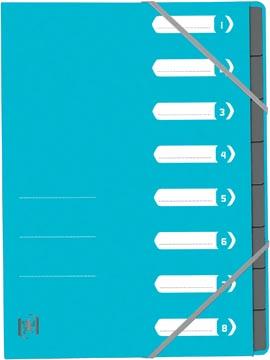 Elba Oxford Top File+ trieur, 8 compartiments, avec des élastiques, bleu clair