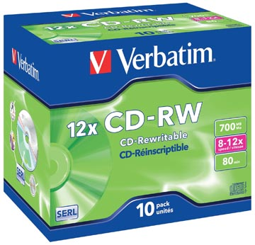 Verbatim CD réinscriptible CD-RW, boîte de 10 pièces, emballées individuellement (Jewel Case)