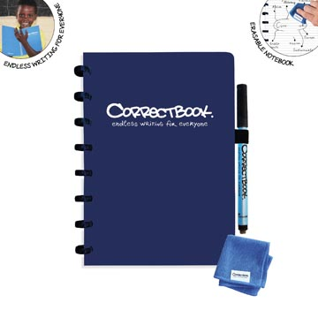 Correctbook A5 Original: cahier effaçable / réutilisable, ligné, bleu marine