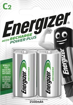 Energizer piles rechargeables Power Plus C, blister de 2 pièces