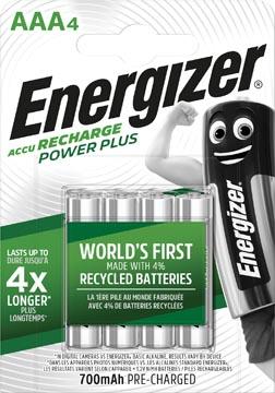 Energizer piles rechargeables Power Plus AAA, blister de 4 pièces