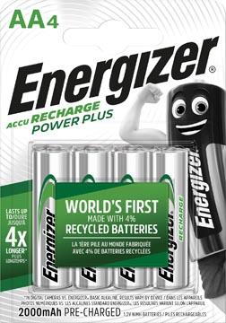 Energizer piles rechargeables Power Plus AA, blister de 4 pièces