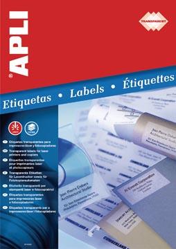 Apli Etiquettes transparentes ft 48,5 x 25,4 mm (l x h), 880 pièces, 44 par feuille, boîte de 20 feuilles