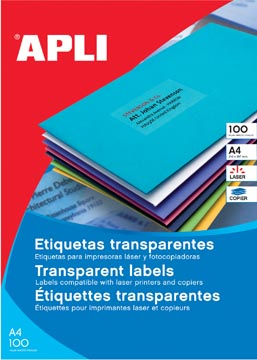 Apli Etiquettes transparentes ft 70 x 37 mm (l x h), 480 pièces, 24 par feuille, boîte de 20 feuilles
