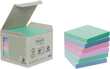 Post-it Notes récyclé, ft 76 x 76 mm, couleurs assorties, 100 feuilles, pacquet de 6 blocs