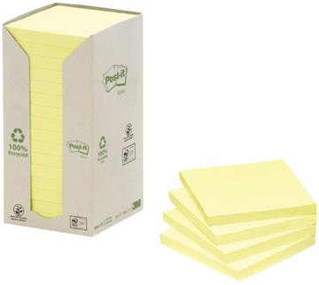 Post-it Notes récyclé, ft 76 x 76 mm, jaune, 100 feuilles, pacquet de 16 blocs