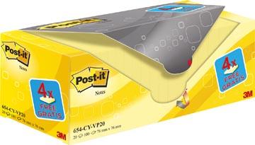 Post-it Notes, ft 76 x 76 mm, jaune, 100 feuilles, pacquet de 16 + 4 gratuit