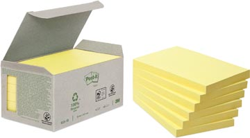 Post-it Notes récyclé, ft 76 x 127 mm, jaune, 100 feuilles, pacquet de 6 blocs