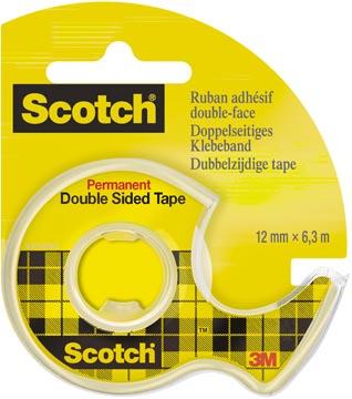 Scotch ruban adhésif, double-face, ft 12 mm x 6,3 m + dérouleur