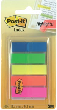 Post-It Index translucide, ft 12 x 43 mm, couleurs assorties, 20 tabs par couleur