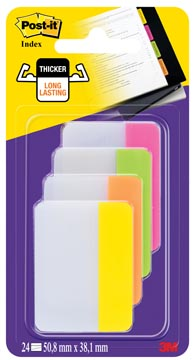 Post-it Index Strong, ft 38 x 50,8 mm, blister avec 4 couleurs, 6 cavaliers par couleur