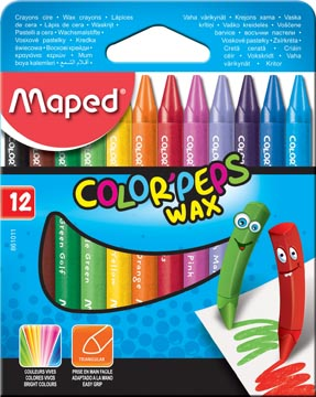 Maped crayon à cire Color'Peps Wax, boîte de 12 pièces en couleurs assorties