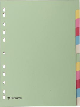 Pergamy intercalaires, ft A4, perforation 11 trous, carton, couleurs assorties pastel, 12 onglets