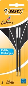 Bic recharge pour stylo bille 4 Colours Medium, blister de 2 pièces, noir