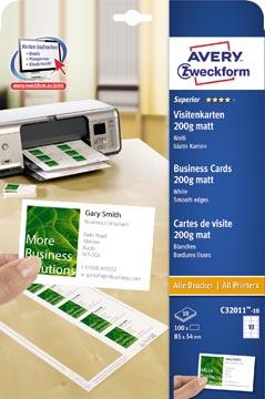 Avery cartes de visite 200 g/m², Ft 85 x 54 mm (10 par feuille), boîte de 10 feuilles