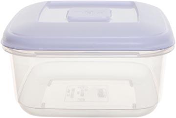 Whitefurze boîte de conservation carré 1 litre, transparent avec couverle blanc