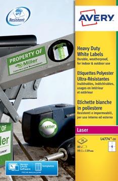 Avery L4774-20 étiquettes ultra résistantes ft 99,1 x 139 mm (b x h), 80 étiquettes, blanc