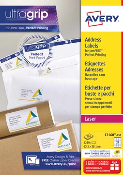 Avery L7160, Etiquettes adresses, Laser, Ultragrip, blanches, 250 pages, 21 per page, 63,5 x 38,1 mm