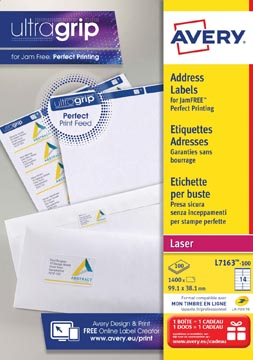 Avery L7163, Etiquettes adresses, Laser, Ultragrip, blanches, 100 pages, 14 per page, 99,1 x 38,1 mm