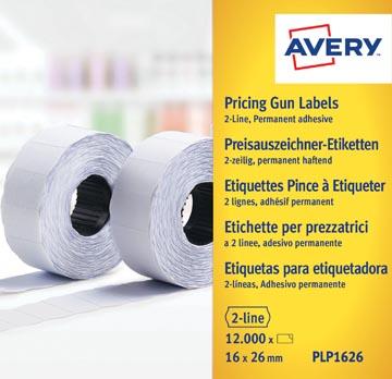 Avery PLP1626 étiquettes pour étiqueteuse, permanent, ft 26 x 16 mm, 12 000 étiquettes, blanc